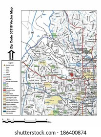 Vector map with summits, rivers, railroads, streets, lakes, parks, airports, stadiums, correctional facilities, military installations and federal lands by zip code 30318 with labels and clean layers.