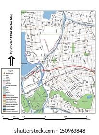 Vector map with summits,rivers, railroads, streets, lakes, parks, airports, stadiums, correctional facilities, military installations and federal lands by zip code 11354 with labels and clean layers.