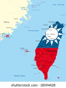Taiwan on world map stock images royalty free images vectors vector map of taiwan country colored by national flag gumiabroncs Images