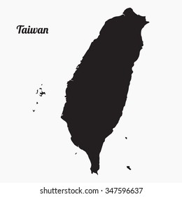 Vector map Taiwan. Gray Vector Illustration. Isolated vector Illustration. Black on Grey background with an inscription Taiwan. EPS Illustration.