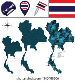 Vector map of Thailand with named divisions and travel icons