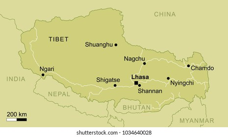 vector map of Tibet region with important cities and roads Lhasa geography cartography
