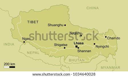 vector map of Tibet