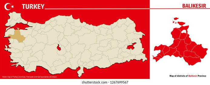 Vector map of Turkey provinces and Map of districts of Balikesir Province. Full-scale and real boundaries are drawn.