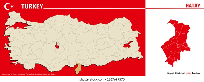 Vector map of Turkey provinces and Map of districts of Hatay Province. Full-scale and real boundaries are drawn.