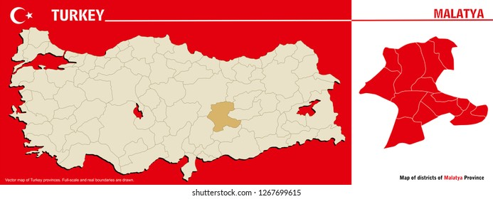 Vector map of Turkey provinces and Map of districts of Malatya Province. Full-scale and real boundaries are drawn.