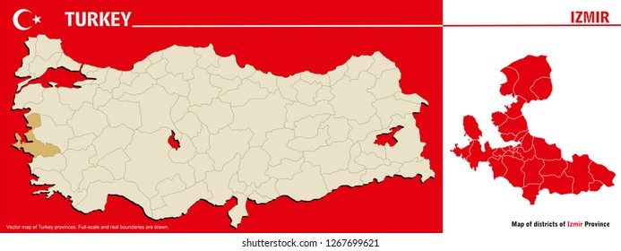 Vector map of Turkey provinces and Map of districts of Izmir Province. Full-scale and real boundaries are drawn.