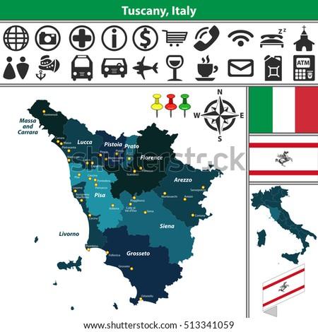 Vector Map Tuscany Regions Location On Stock Vector (Royalty Free ...