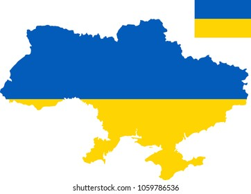 Vector map of Ukraine with flag. Isolated, white background