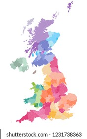 vector map of United Kingdom administrative divisions colored by countries and regions. Districts and counties map of England, Wales, Scotland and Northern Ireland