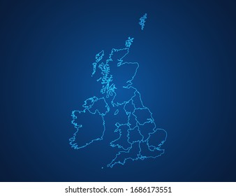 Vector map of United Kingdom (UK) abstract blue line scales on dark background.