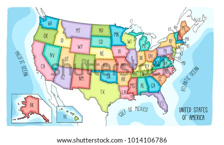 Map Of The United States Of America.Vector Map United States America Colorful Stock Vector Royalty Free