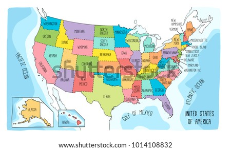 Vector Map United States America Colorful Stock Vector (Royalty Free ...