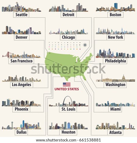Vector Map United States America Largest Stock Vector (Royalty Free ...