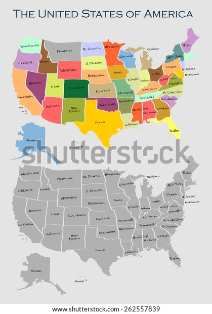 Vector Map United States America Full Stock Vector Royalty Free - Full-us-map
