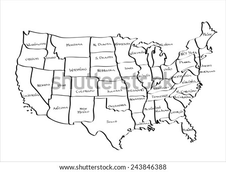 Hand Drawn Us Map.Vector Map United States Hand Drawn Stock Vector Royalty Free