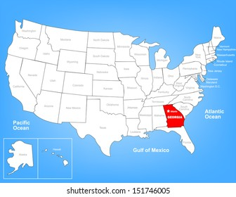 Vector Map of the United States Highlighting the State of Georgia; Illustrator 8