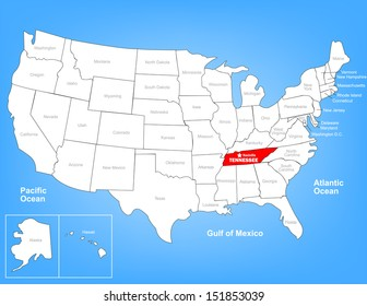 Vector Map of the United States Highlighting the State of Tennessee; Illustrator 8