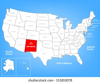 Vector Map of the United States Highlighting the State of New Mexico; Illustrator 8