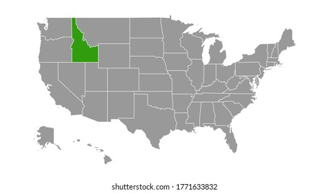 Vector Map of the United States Highlighting the State of Idaho.