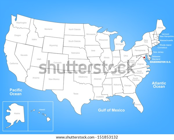 Vector Map United States Highlighting Washington Stock ...