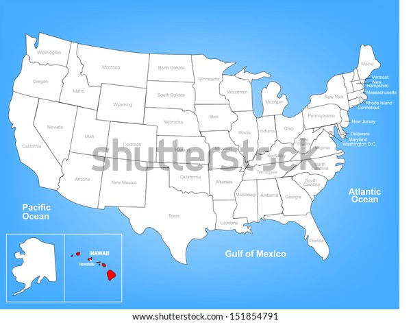 Vector Map United States Highlighting State Stock Vector ...