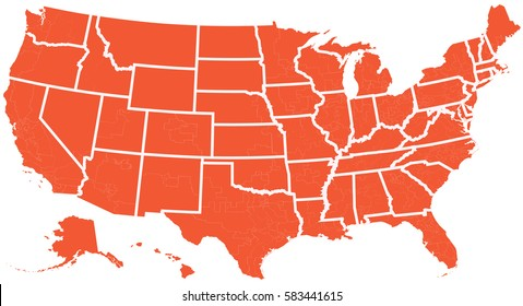 Vector map united states isolated vector illustration orange on white background