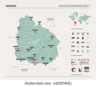 Vector map of Uruguay. Country map with division, cities and capital Montevideo. Political map,  world map, infographic elements.
