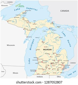 Vector Map of the U.S. state of Michigan