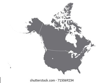 vector map of usa and canada