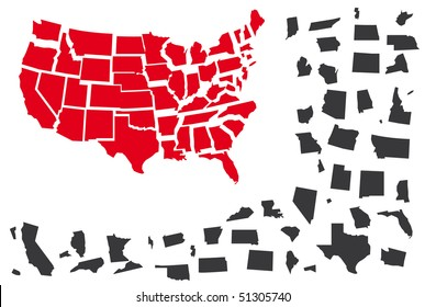 Vector Map of USA with Individually States Separated. Single US states separated.