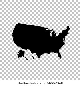 Vector map USA. Isolated vector Illustration. Black on White background. EPS 10 Illustration.