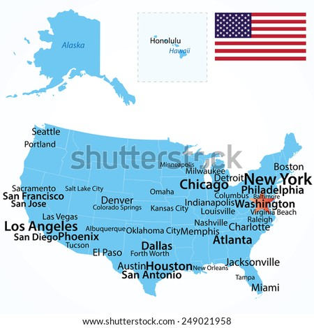 Map Of Us Cities By Population.Vector Map Usa Largest Cities Carefully Stock Vector Royalty Free