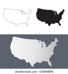 Vector map USA in paper cut style. Outline USA map. Isolated vector Illustration.