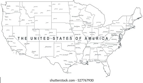 Map Of United States With Names Of States.Map United States Names Images Stock Photos Vectors Shutterstock