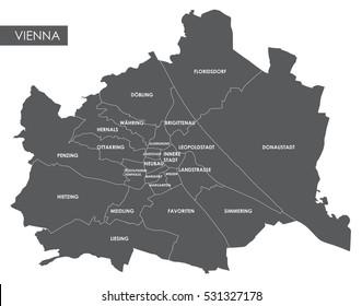 Vector map Vienna district