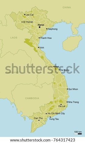 Vector Map Vietnam Important Cities Roads Stock Vector (Royalty Free ...