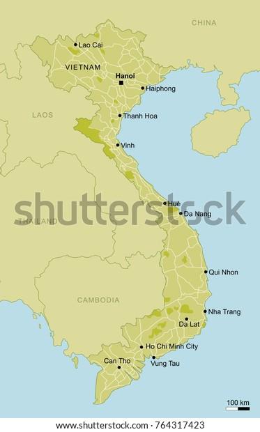 Vector Map Vietnam Important Cities Roads Stock Vector ...