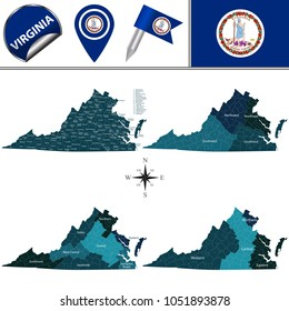 Vector map of Virginia with named regions and travel icons