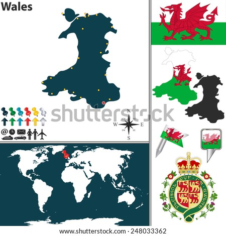 Vector Map Wales Coat Arms Location Stock Vector (Royalty Free ...