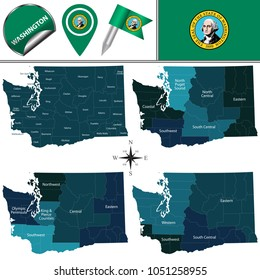 Vector map of Washington with named regions and travel icons