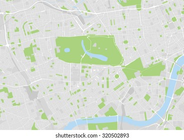 vector map of west central London from Westminster over Hyde Park to Notting Hill