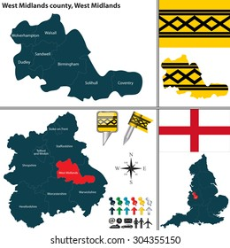 Vector map of West Midlands county in West Midlands, United Kingdom with regions and flags