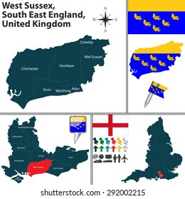 Vector map of West Sussex, South East England, United Kingdom with regions and flags