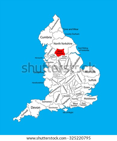 Map Of England Showing Yorkshire.Vector Map West Yorkshire Yorkshire Humber Stock Vector Royalty