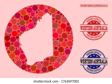 Vector map of Western Australia collage of round elements and red grunge seal stamp. Subtraction round map of Western Australia collage formed with circles in variable sizes, and red color tinges.