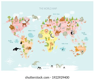 Vector map of the world with cartoon animals for kids. Europe, Asia, South America, North America, Australia, Africa. Lion, crocodile, kangaroo. koala, whale, bear, elephant, shark, snake, toucan.