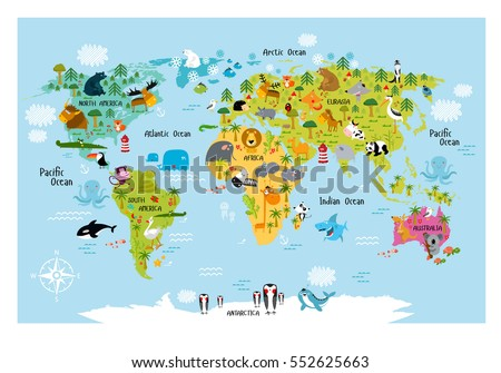Map Of Europe And South America.Vector Map World Cartoon Animals Kids Stock Vector Royalty Free