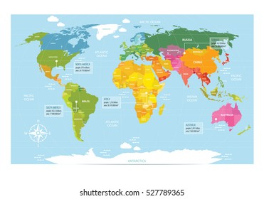 Vector map of the world with countries. America, Eurasia, Australia, Africa, Antarctica. It can be used as a poster for teaching children.