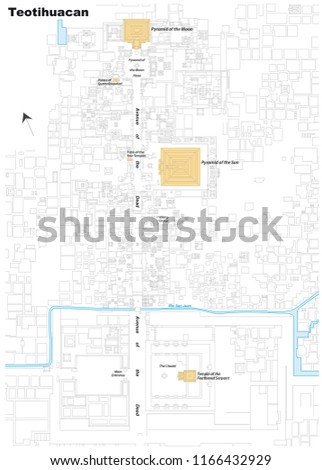 Teotihuacan World Map.Vector Map World Heritage Teotihuacan Stock Vector Royalty Free